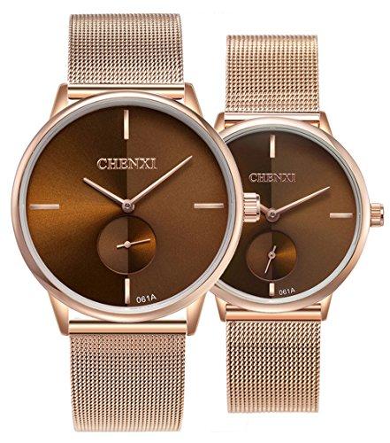 Swiss Brand Couple Watch Men Women Stainless Steel Rose Gold Mesh Strap Waterproof Watches (Brown)