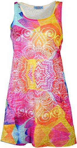Guru-Shop, Psytrance Mini-jurk, Longtop, Veelkleurig, Synthetisch, Size:10, Korte Jurken