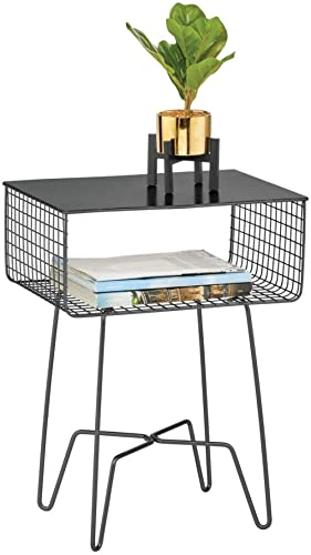 mDesign - Mesa auxiliar/auxiliar moderna de granja, diseño de metal sólido, cesta de almacenamiento abierta, patas de...