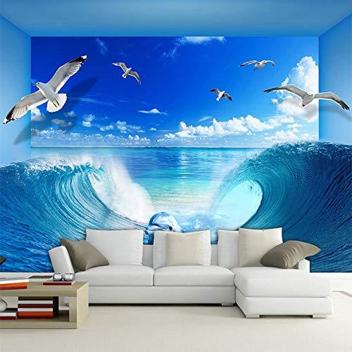 DZBHSCL 4D behang wandschilderingen, modern creatief stereoscopisch blauw oceaan strijkijzer meeuwen Hd kunstdruk grootte fotobehang poster voor huis woonkamer slaapkamer muur decor 100in×144in 250cm(H)×360cm(W)