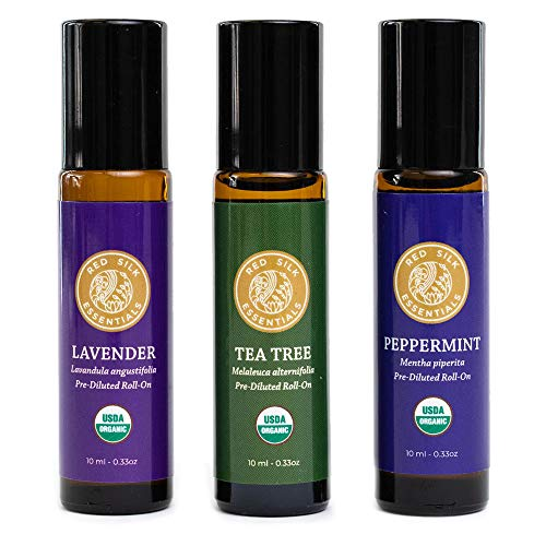 Red Silk Essentials USDA Organic Essential Oils Roll on Wellness Gift Set, Pure Natural Aromatherapy - Lavender, Peppermint & Tea Tree - 10 ml