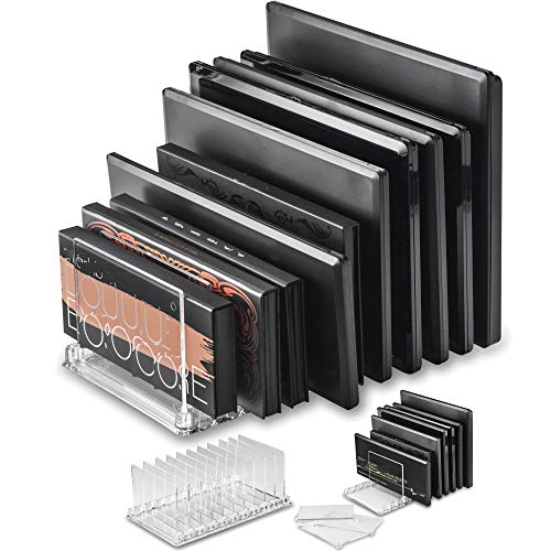 byAlegory Acrylic Makeup Eyeshadow Palette Organizer w/ Removable Dividers 10 Space Vanity Desk Storage Fits Virtually All Palette Sizes - Clear