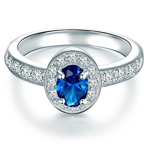 Tresor 1934 Damen-Entouragering Sterling Silber Zirkonia blau weiß - Diana Ring Verlobungsring Antragsring