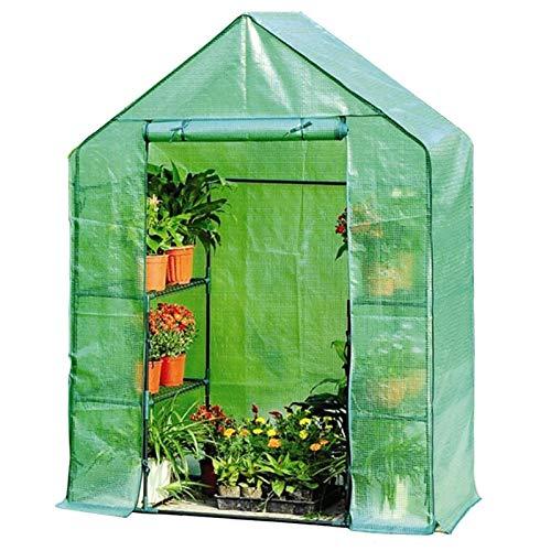 BBZZ Tienda de campaña para jardín de 3 niveles, 4 estantes, 143 x 73 x 195 cm, invernadero de plantas para invierno, verano, verduras, verde