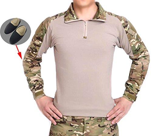 Männer BDU Schießerei Kampf Lange Ärmel Camo Hemd mit Ellenbogenschutz Multicam MC für Taktisch Militär Armee Airsoft Paintball (S) (XL)