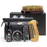 Verbessertes Bartpflege-Set, 6-teiliges Gesichtspflege-Set mit Bio-Bartöl-Einwirkungs-Conditioner, Lätzchen, Bürste, Kämme, Bartbalsam-Butterwachs mit großem Aufbewahrungsbeutel