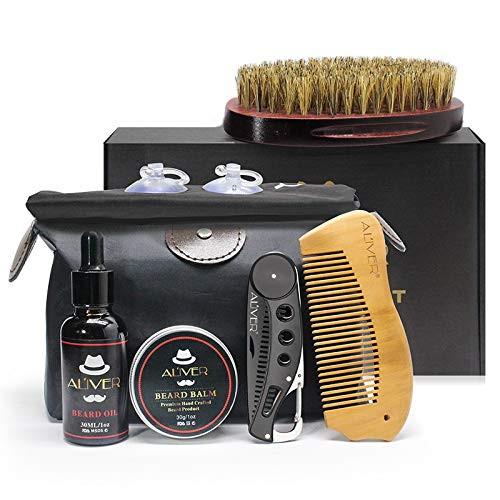 Kit de preparación de barba, 6 piezas con aceite orgánico para barba, babero, brocha, peines, bálsamo para barba para el crecimiento de estilo de barba con bolsa de almacenamiento de gran capacidad