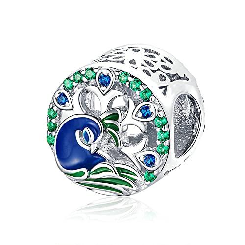 LIJIAN DIY 925 Sterling Jewelry Charm Beads Spring Beautiful Peafowl Colorful Make Original Pandora Collares Pulseras Y Tobilleras Regalos para Mujeres