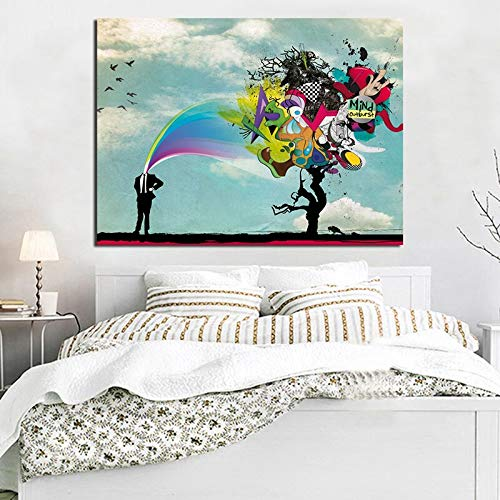 yaoxingfu Hombre sin Marco Crazy Surreal Explosion Brain Graffiti Wallpaper Art Canvas Poster ng Oil Wall Picture Print Modern Home Bedroom Decor 40x60cm