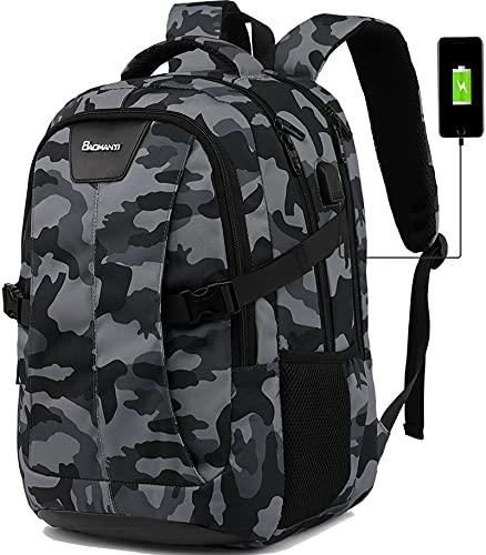 Laptop Rucksack Herren 17 Zoll Schulrucksack Jungen Teenager mit USB-Ladeanschluss für Reisen Camping Schule Arbeit Büro Großer Multifunktion Wasserdichter Notebook Daypack