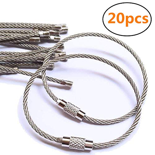 BESSEEK 20pcs Stainless Steel Wire Keychain Cable Key Ring for Outdoor Hiking,6 inch