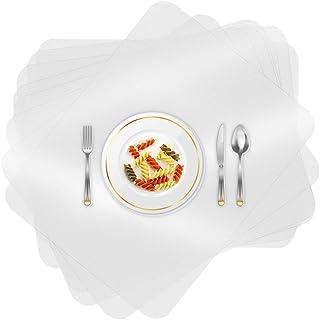 O-Kinee 8 PCS Set de Table Transparent Plastique Lavables Antidérapant Résiste à la Chaleur Napperons pour Cuisine Réutili...