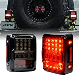 Xprite 4D Smoke Lens LED Tail Lights DOT Approved for 2007-2018 Jeep Wrangler JK JKU, High Intensity Led Rear...