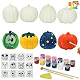 JOYIN 8 Pcs Halloween Squishy Coloring Craft Kit DIY Pumpkins Squishy with 12 pcs Emoji Stickers and 12 Color Paints, Arts & Craft Halloween Pumpkin Crafts Kits for Halloween Party Favors