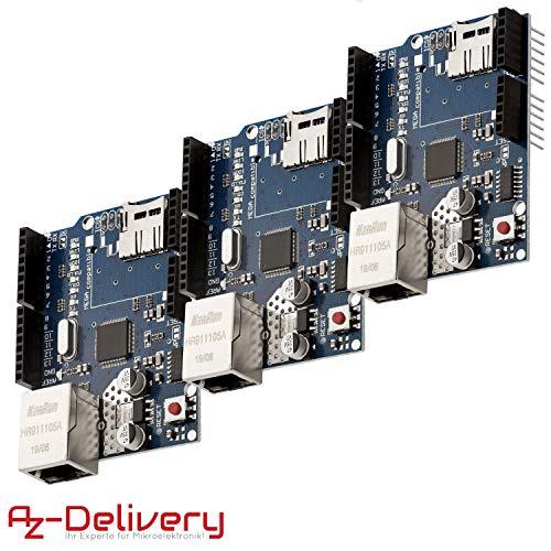 AZDelivery 3 x Ethernet Shield W5100 Internet para Arduino UNO R3 con eBook incluido