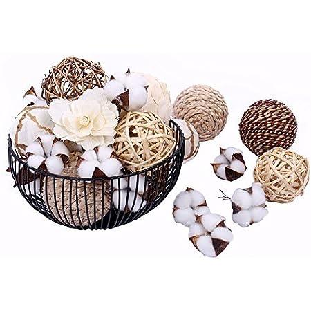 Ceramic Cotton Bowl and Cotton Ornament Set