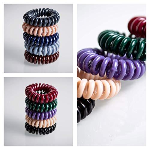 Juego de 10 gomas para el pelo en espiral, 10 teléfonos, cable de teléfono en espiral, varios colores, 2 cm, gomas para el pelo menos roto