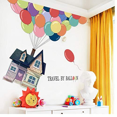 Muursticker heteluchtballon muursticker voor kinderkamer reizen met het ballon behang kinderen baby slaapkamer wandtattoos lijm 60x90 cm