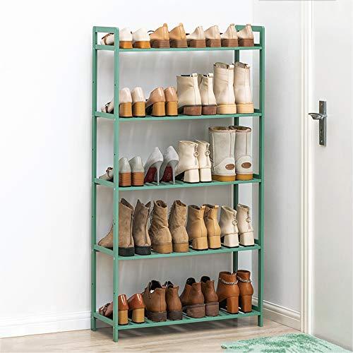 DJFIOSD Porte-Chaussures en Bambou À 5 Niveaux, Meuble À Chaussures D'entrée À La Maison pour Organisateur De Support De Rangement Indépendant Multifonctionnel, Convient Au Salon,Vert
