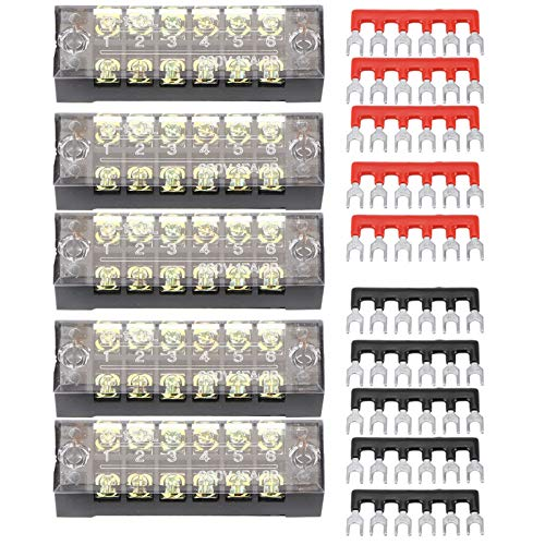 Yctze 5pcs Tornillo Fila terminal, cobre de doble fila, 6 bits, 600V, 15A, terminal de tornillo + Máquina de circuito electrónico de electrodomésticos de electrodomésticos