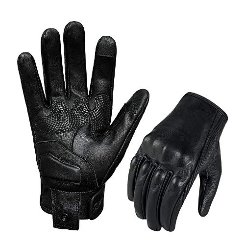 Superbike Updated Black Leather Motorcycle Gloves Hard Knuckle Armored Touchscreen Motorcycle Riding Gloves (Updated,Non-Perforated, M)