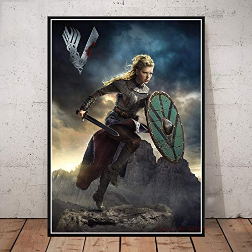 Póster De Vikingos Serie De Televisión Clásica Espectáculo Lienzo Pintura Impresiones Cuadros De Pared para Sala De Estar Hogar Decorativo 50X70Cm Cdl-1684
