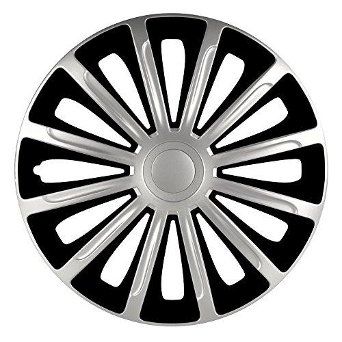 4 COPRICERCHI Auto Nero Argento Trend 14' 15' 16' Pollici Coppe Borchie Copri Ruota Ottima QUALITÁ + 1 Adesivo da pc Ricambi Auto Europa Gratis (16')