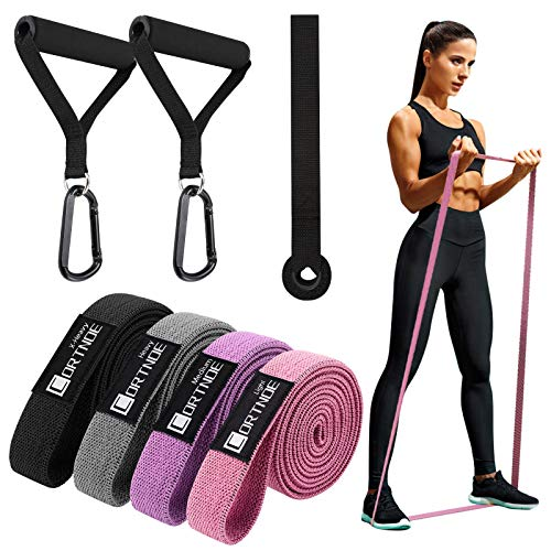 CORTNOE Pull Up Assistance Bands - Pull Up Bands Fabric Long Resistance Bands Set of 10 Long Workout Bands with Door Anchor, Handles, Exercise Bands for Working Out, Weight Training