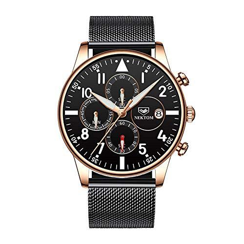 Relojes para Hombre Reloj de Pulsera con cronógrafo de Negocios de Cuero Impermeable de diseñador Elegante-C