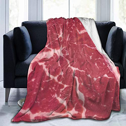 SHOUNENN Sirloin Steak Flannel Throwing Blanket Lightweight Comfortable Bed Blanket Sleeping Bag Super Fuzzy Lightweight Blanket80 x60