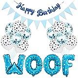 Haokaini Suministros para La Fiesta de Cumpleaños del Perro Globos de Fiesta para Mascotas Globos de Letras Guau Globos con Estampado de Pata Sombrero de Cumpleaños para Mascotas Banner de