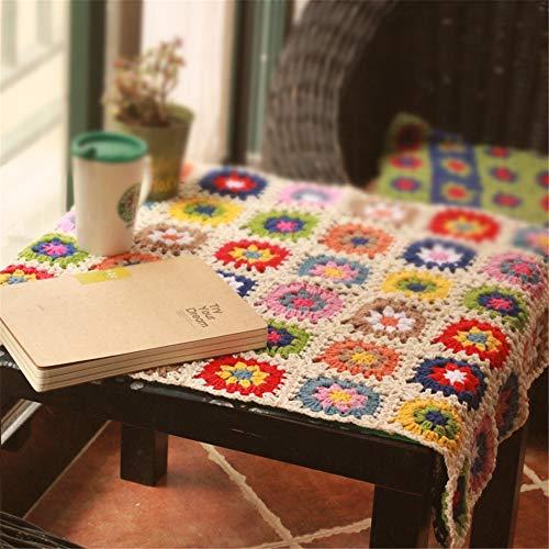 MOLINGXUAN Casual Ganchillo de Boho Retro Ganchillo de la Mano Sofá Sofá Cama bedcloth Mantel Cuadrado de la Manta del sofá de la Margarita Manta de Lana 150 * 100cm
