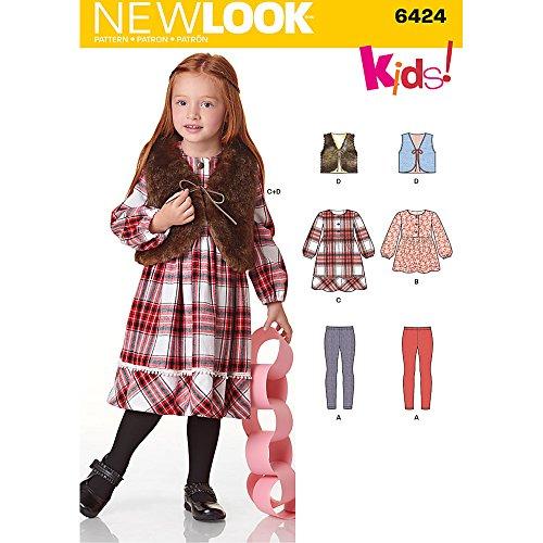 New Look Muster Kinderkleid, Top, Weste und Knit Leggings Größe: A (3–5–6-7–8), 6424