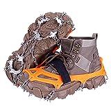 JOOLESER Crampones Ligero de Nieve Hielo 19 Puntas Dientes De Acero Zapatos Antideslizante para Cámping Alpinismo Acampada Senderismo Marcha Invierno (Orange, XL)