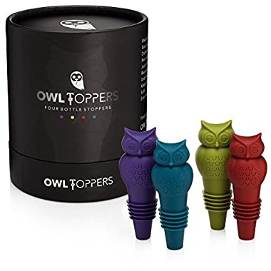 Owltoppers Bottle Stoppers(4 Pack, 2 Sizes)Wine Saver,Champagne Preserver, Decorative Silicone Bottle Cork Set, Unique Wine Lover Gift Idea