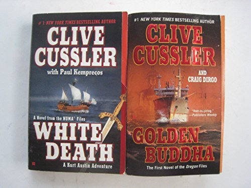set of 2 paperbacks by Clive Cussler: White Death and Golden Buddha