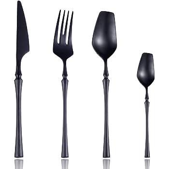 7.6-inch Black Sporks 6-pack Stainless Steel Spork Long Handle for Fruit Appetizer Dessert Salad Forks Noodle Spoon Flatware Silverware Set