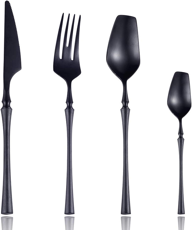 Lemeya 24-Piece 18 10 Stainless Steel Matte Black Silverware Luxury Flatware Cutlery Set Service for 6 Include Knife Fork Spoon Dishwasher Safe (Black)