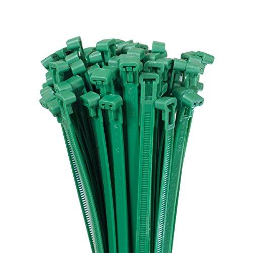 Bradas TS1276300G 100 x Kabelbinder 7,6 x 300 mm, Grün, 30x0,76x0,1 cm