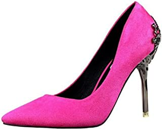 lcky Pointed-Toe high-Heeled Shoes Women's Shallow Stilettos Suede Singles Shoes(Purple 39/8 B(M) US Women)