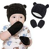 None/Brand – Juego de guantes para bebé, para niños y niñas, gorro de punto con orejas pequeñas, de algodón cálido, con forro de lana, 3 – 6 meses