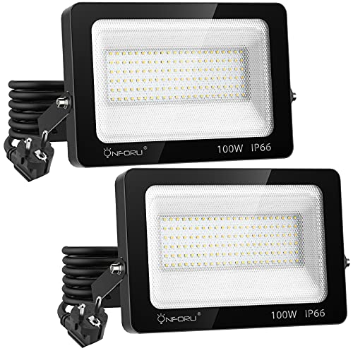 Onforu 100W Foco Proyector LED con Enchufe (2 Pack), 10000LM Foco LED Exterior, 6000K Blanco Frío Reflector LED, IP66 Impermeable Floodlight Luz para Patio, Jardín, Garaje, Estadio, Taller, Interior