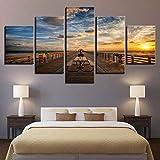 SUKOKOLA Arte HD Impresiones decoración del hogar Fondo de cabecera 5 Piezas mar Pared Arte Puente Lienzo Pintura Cuadros modulares Paisaje Cartel