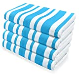 4 Pcs Blue and White Stripes Beach Towel, 31.5 x 59 inches, Super...