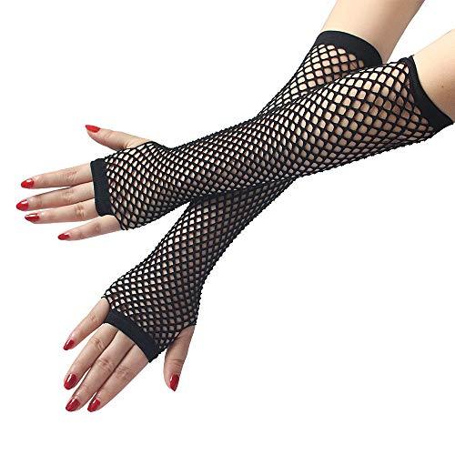 COZOCO Damen Mädchen Neon Sexy Mitten lange Fingerlose Netz Spitze hohe Elastizität Handschuhe Hochzeit Handschuhe Multi Farben erhältlich(schwarz)(schwarz)