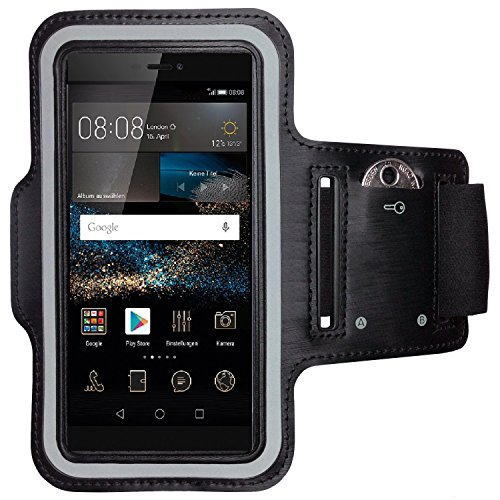 CoverKingz Sportarmband für Huawei P8 - Armtasche mit Schlüsselfach Huawei P8 - Sport Laufarmband Handy Armband Schwarz