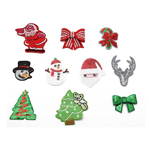 Mini Santa Claus Christmas Applique Patch 3-Pack, Small, Iron on