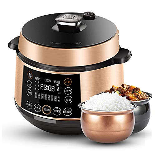Electric Pressure Cooker, Pressure Cooker Programmable Multi-pot, Multi-function Electric Steamer, Steam, Slow Cooker, Steamer, 5 Liters, 1100 W, Gold