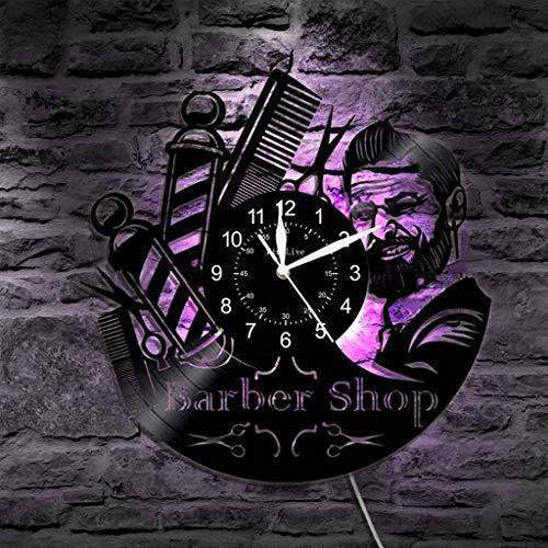 ANMY Barbería Reloj de Pared Signo LED Lámpara de Pared de Noche Vinilo Peluquería Herramienta de peluquería Retroiluminación Silueta Iluminación Etiqueta, 12 Pulgadas,H