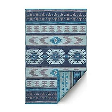 Fab Habitat Cusco Reversible, Indoor/Outdoor Weather Resistant Floor Mat/Rug, 6' x 9', Cusco-Blue